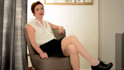 redhead french lady wearing nylon stockings