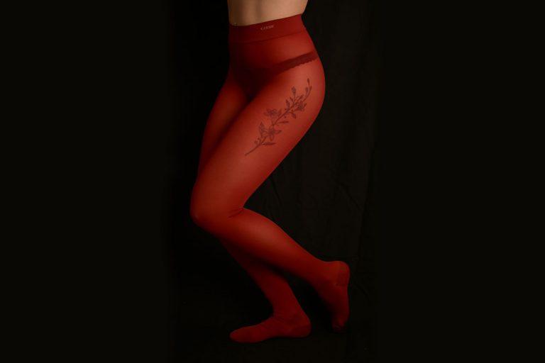 collants sales opaques épais de couleur rouge