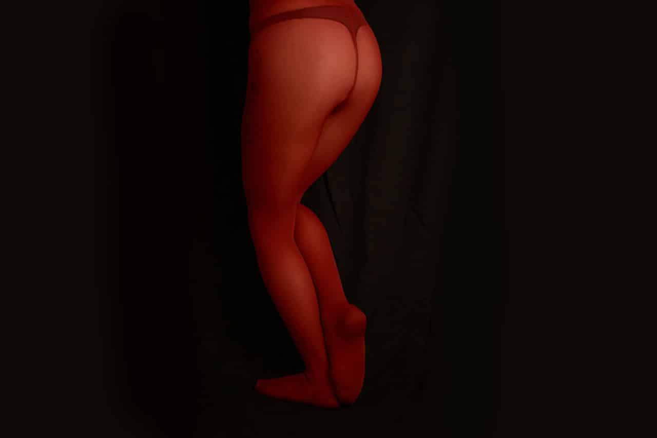 collants opaques épais de couleur rouge